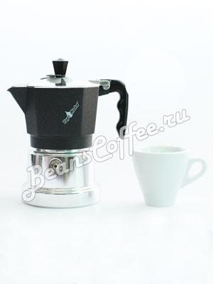 Гейзерная кофеварка Top Moka Caffettiera Top 3 порции (120 мл) черный argento