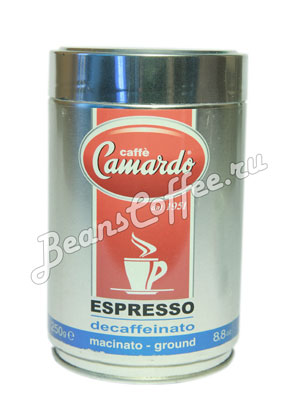 Кофе Camardo молотый Decaffeinato 250 гр (ж.б.)