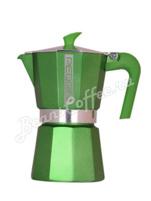 Гейзерная кофеварка Pedrini на 6 порции (240 мл) Зеленая