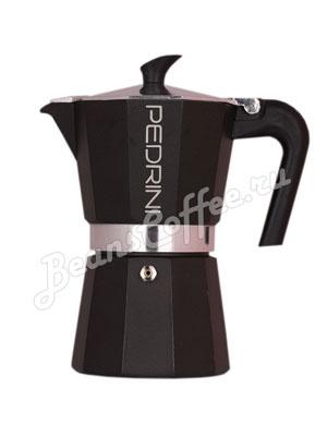 Гейзерная кофеварка Pedrini Nero на 6 порции (240 мл) Черная