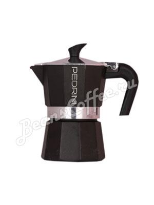 Гейзерная кофеварка Pedrini Nero на 3 порции (120 мл) Черная