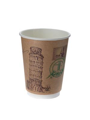 Стакан бумажный ThermoCup двухслойный 300 мл Города мира Крафт