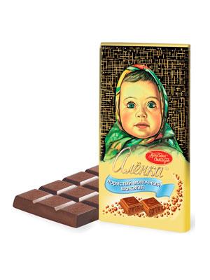 Шоколад Красный Октябрь Аленка пористый молочный 95 гр