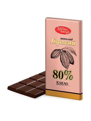 Шоколад Красный Октябрь горький 80% какао 75 гр