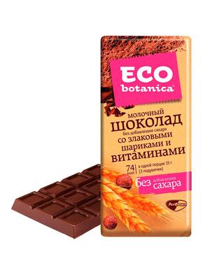 Шоколад Рот Фронт Eco botanica молочный со злаковыми шариками и витаминами 90 гр