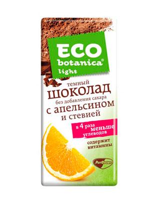Шоколад Рот Фронт Eco botanica Light темный с апельсином и стевией 90 гр