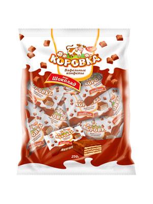 Конфеты Рот Фронт вафельные Коровка вкус Шоколад 250 гр