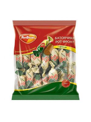 Конфеты Рот Фронт Батончики с орехами 250 гр