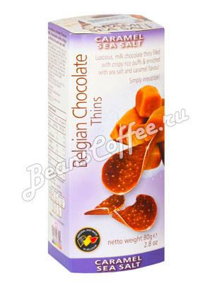 Шоколадные чипсы Belgian Chocolate Thins Соленая карамель 80 гр